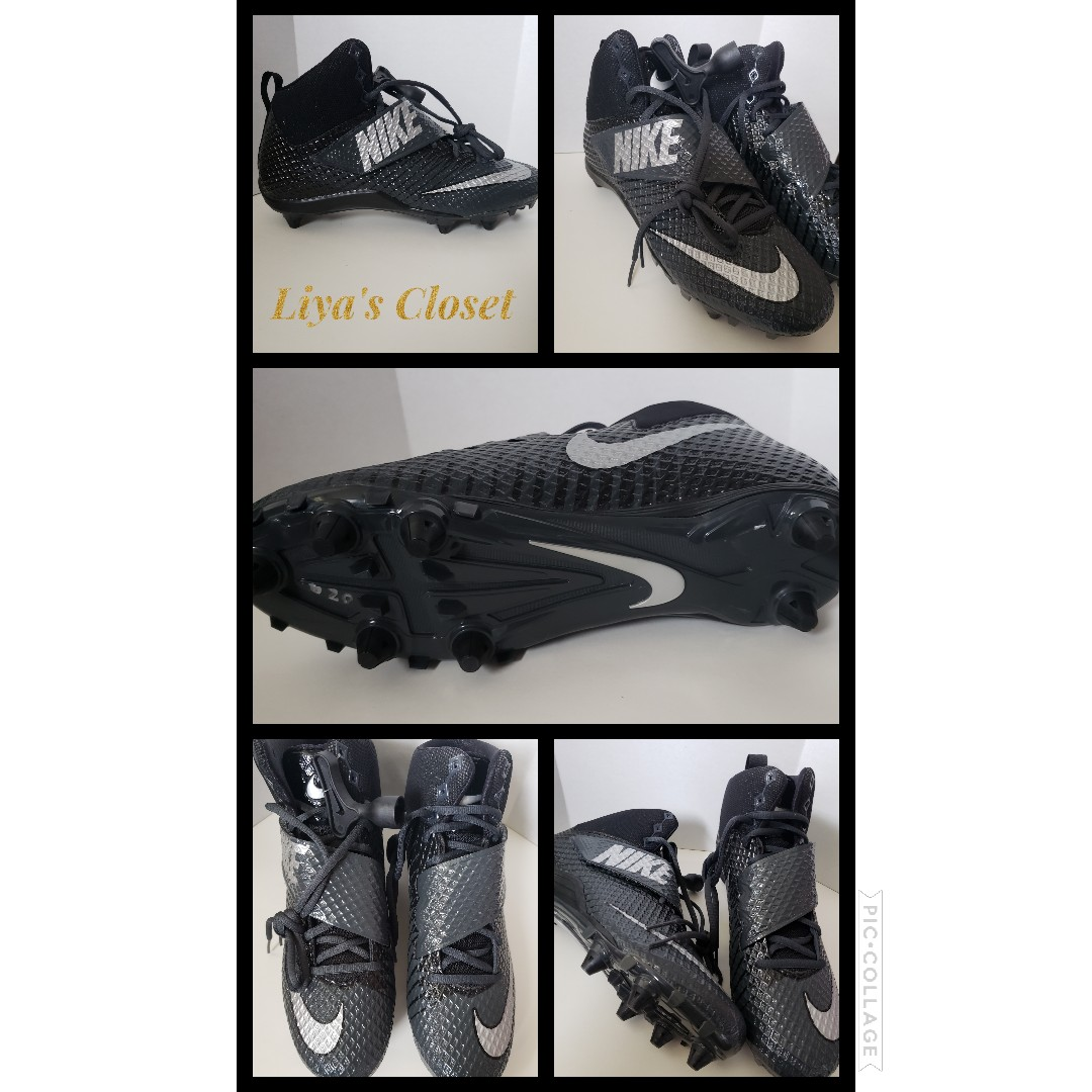 9540da0b9015 New Find  Mens Nike Lunarbeast Pro D Football Cleats Black and Silver